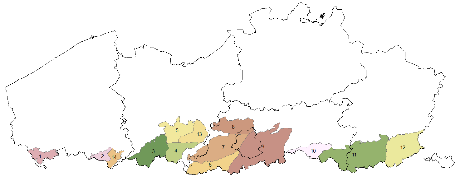 Deelgebieden van de modellering van leemvoorkomen