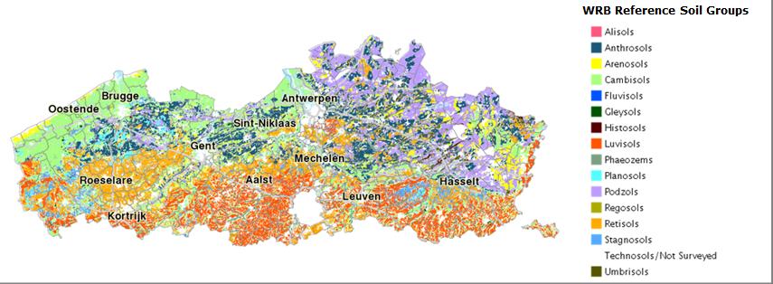 DOV-verkenner met bodemkaart volgens World Reference Base