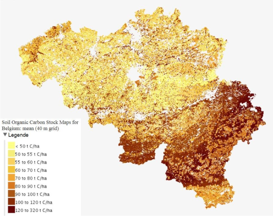 Kaart Soil Organic Carbon Stock Maps for Belgium (40 m grid)