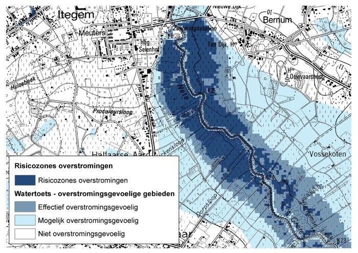 Risicozones voor overstromingen en overstromingsgevoelige gebiden vlgs de watertoets