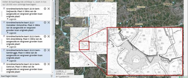 Grondmechanische kaarten van Gent in DOV-Verkenner