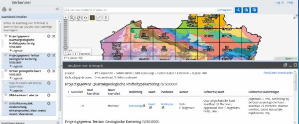 DOV-verkenner met kaartlagen toelichtingsboekjes Tertiair en Quartair